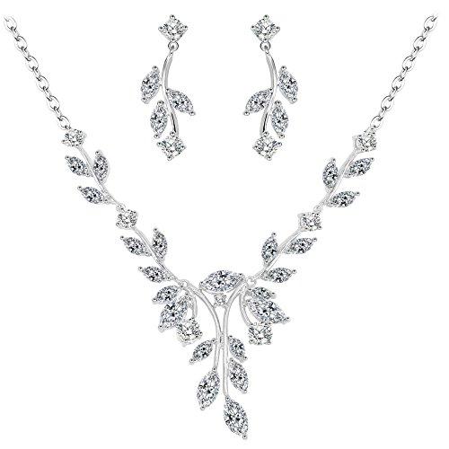 3123a83bc052 BiBeary Zircon CZ elegante Flor Boda Collar Pendientes Juegos de joyas Set  para Dama tono plateado