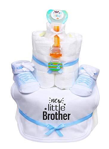 Trend Mama WINDELTORTE Junge hellblau Babysocken Schnuller Schnullerband Babylätzchen mit Print -New little Brother