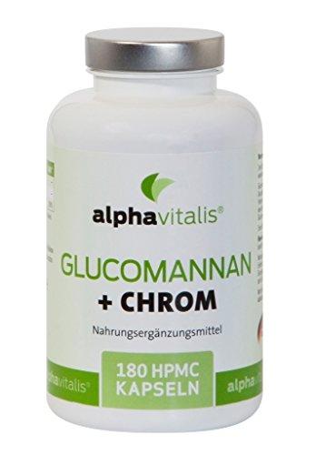 *Endlich abnehmen mit alphavitalis® • Glucomannan und Chrom • 4000 mg • Gewichtsreduktion • Blutzucker • Cholesterin • 180 Kapseln • 30 Tage Kur • vegan • ideal für Diät oder Adipositas • Deutsche Herstellung*