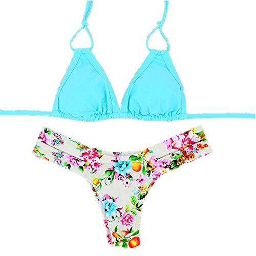 SHISHANG Damen Badeanzug Anzug Europa und den Vereinigten Staaten sexy Badeanzug Stricken Bikini schnell trocken und fest blue with yellow