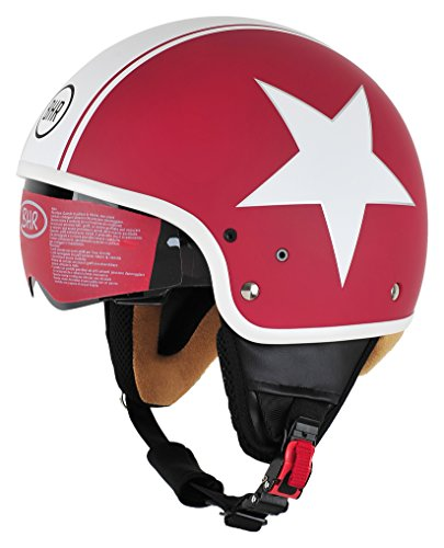 BHR Casco 94169 Semi-Jet Modelo 802 con visera retráctil, Red Star, talla M (57/58 cm)
