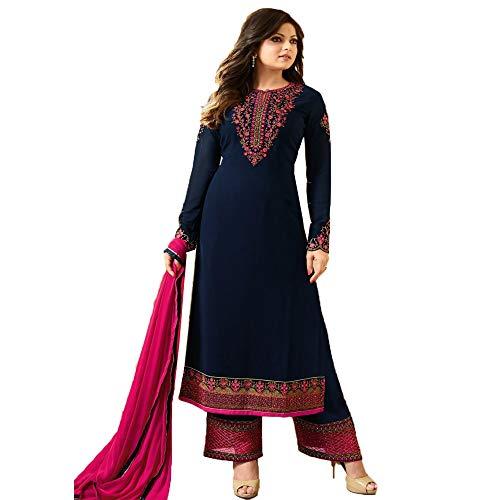 VIVIKI Designer Women's Faux Georgette Salwar Suit Dress Material (Dress Material, Navy...