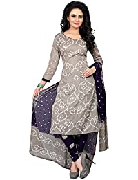 Taboody Empire Rectangle Grey Satin Cotton Handi Crafts Bandhani Work With Straight Salwar Suit For Girls And...