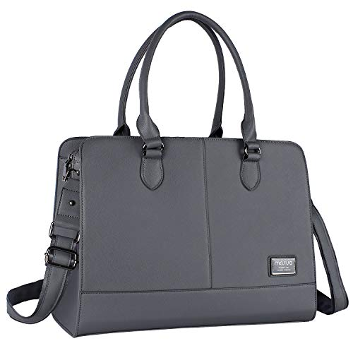 MOSISO Laptop Tote Bag für Frauen (Bis zu 15,6 Zoll), Premium PU Leder Große Kapazität mit 3 Schicht Fächern Business Work Reise Schultertasche Aktentasche Handtasche, Space Grau