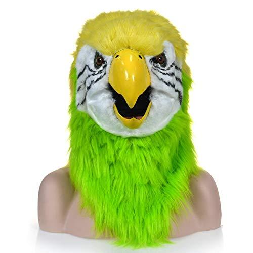 ZUAN Pelz-Papagei-Kopf-Kostüm-Party-Papagei-Kopfbedeckung für Halloween realistische handgefertigte Cosplay-bewegliche Mund-Maske roter Papagei pelzte Simulation Fauna-Maske
