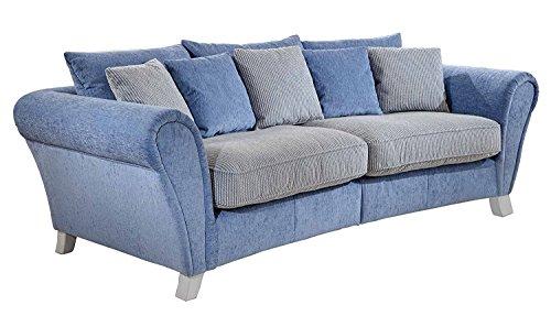 Cavadore 514 Big Sofa Calianne / Große Couch inkl. Kissen im modernen Design mit weißen Holzfüßen / Größe: 257 x 87 x 120 cm (B x H x T) / Materialmix blau - weiß
