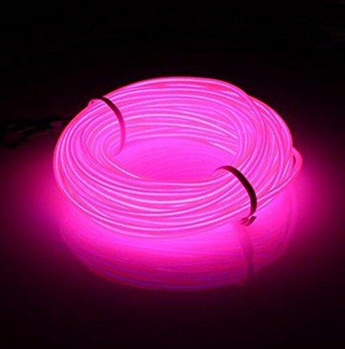 Lysignal Wasserdicht Flexibel 5M 15 FT Neon Beleuchtung Lichtschlauch Leuchtschnur EL Kabel Wire mit 3 Modis für Disco Party Kinder Halloween Kostüm Kleidung Weihnachtsfeiern(Rosa)