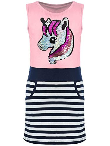 Kmisso Mädchen Sommer-Kleider Kinder Wende-Pailletten Kleid Ärmellos Einhorn 30027 Rosa 116