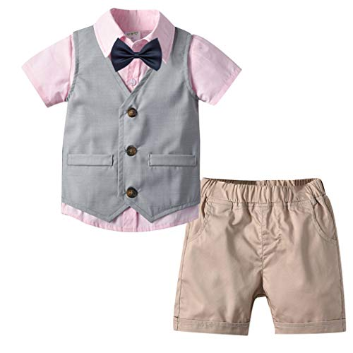 MRULIC Infant Baby Jungen Gentleman Strampler Hosenträger Strap Shorts Outfits Sets Sommer Kurzarm Shirt und - Halloween Outfit Für Babys
