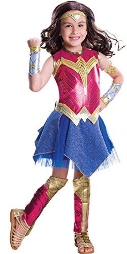 Wonder Mädchen Woman Kostüm (erdbeerloft - Mädchen Karneval Kostüm Wonder Woman, Mehrfarbig, Größe 110-122, 5-7)