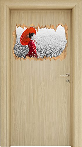 Geisha auf dem Feld B&W Detail Holzdurchbruch im 3D-Look , Wand- oder Türaufkleber Format: 62x42cm, Wandsticker, Wandtattoo, Wanddekoration