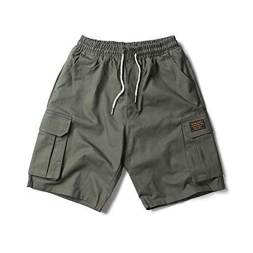 Ozon Bib (CHLCH Herren Sport Shorts Jogginghose KordelzugEinfarbiges Mehrfachtaschen-Armee-Grün L)