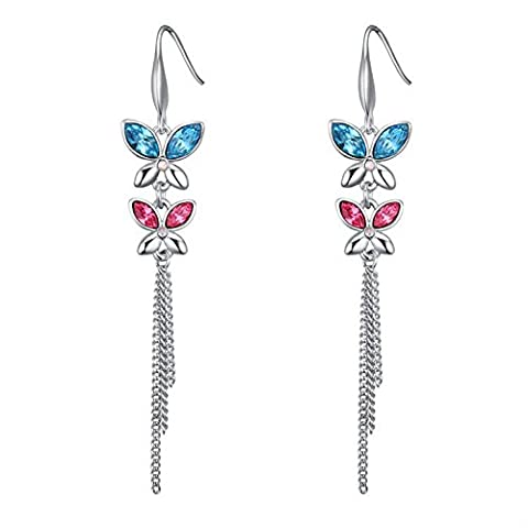 Babao Jewelry Tassel Butterfly 18K Platinum Plated Swarovski Elements Cubic Zirconia Crystal Dangle Earrings Color