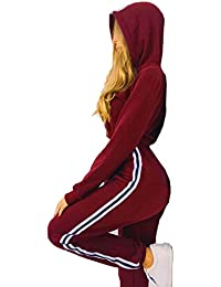 Babysbreath 2 Pcs Women Sportswear Set Hoodies Cultivar Top Pantalones Largos Set Casual Tracksuit Sporting Suit Sportsuit Vino rojo S