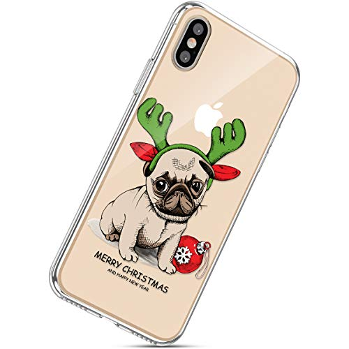 Handytasche iPhone XS Max Weihnachten Handyhülle Durchsichtig Schutzhülle Silikon Dünn Case Transparent Handyhüllen Kirstall Clear Case Etui TPU Bumper Schale,Hund
