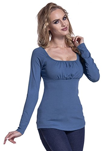 Glamour Empire. Damen Top mit langen Ärmeln Geraffte Büste Empire-Taille. 360 Blau Jeans