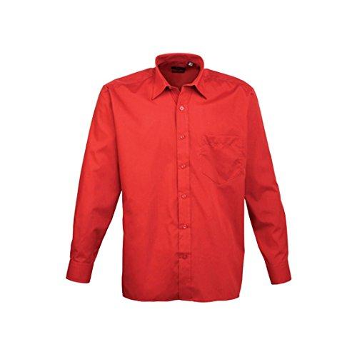 Lange Ärmel Popelinehemd Rot - Rot
