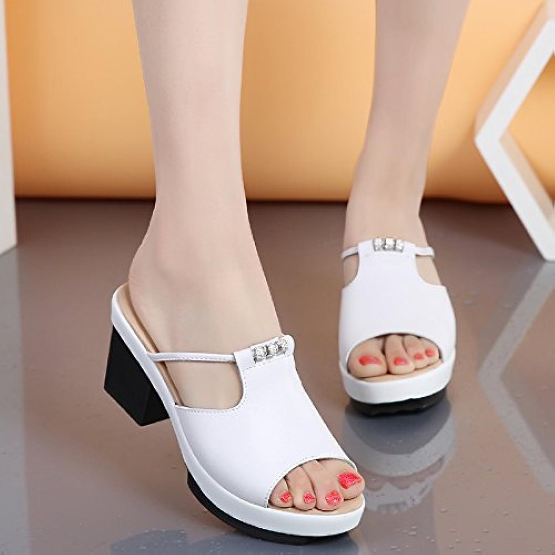 OME&QIUMEI Hohe, Weiße Schuhe Mit High Heel Sandalen Im Sommer