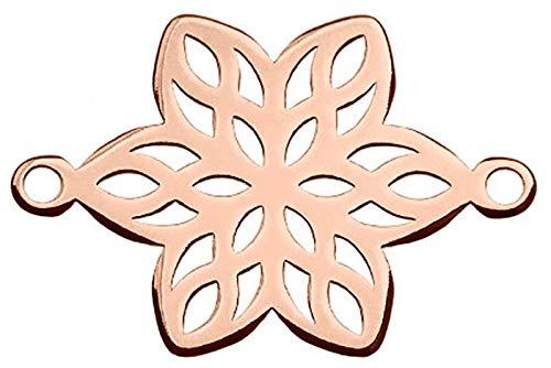 Sadingo Schmuckverbinder, Zwischenstück 925er Sterling Silver Blume Roségold - 1 Stück -13 x 19,4 mm -Makramee,Armbänder