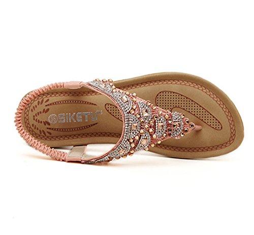 Neue Flach Sommer Damen Strass Blumen Offene Zehen Lässige Tägliche Slippers Sandalen Pink