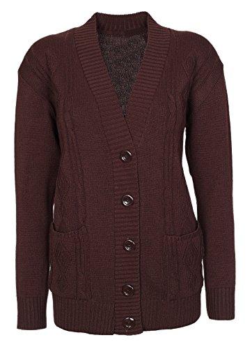 New Classic - Cardigan da donna, taglie 38-48a maglia, a maniche lunghe stile Aran Chocolate