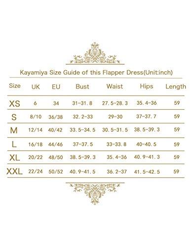Kayamiya Damen Gatsby Kleid 1920er Perlen Pailletten Maxi Lange Charleston Meerjungfrau Abendkleid 32-34 Gold Beige - 5
