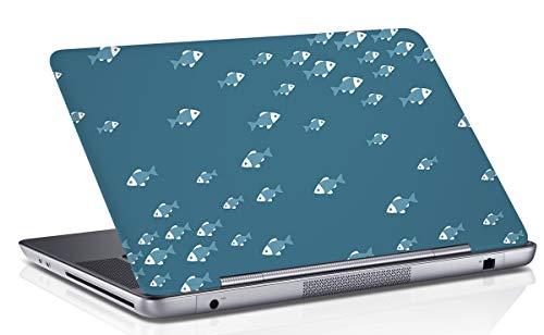 RADANYA Fisch Gedruckt Laptop Haut Abdeckung Blaugrün Blau Notebook Haut Aufkleber Kunst Aufkleber Passt 14.1 Bis 15.6 Zoll