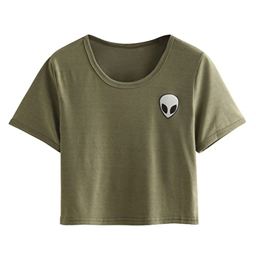 Etosell Femmes Manches Courtes Impression Casual T-Shirt Vert