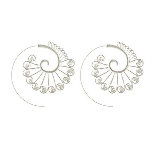display08 Frauen-kreative Spirale Pfau-Band-Ohrring-Partei-Bankett-Schmucksache-Zusätze (Silber)