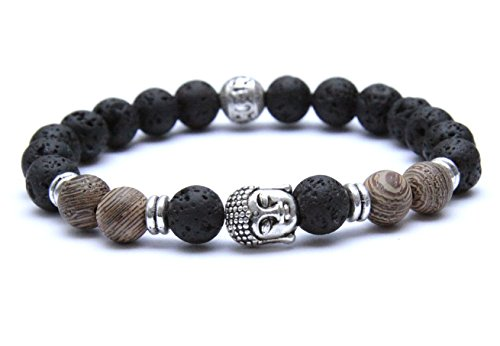 K&B Buddha Armband Lava Stein Holz Braun Karma Silber Bracelet Fashion Vintage Modeschmuck (21)