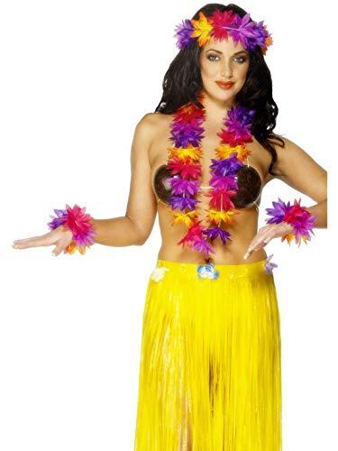 Fancy Ole - Kostüm Accessoires Zubehör 4-teiliges Damen Frauen Hawaii Hula Set mit Blumenkette, Arm- und Strinband, perfekt für Karneval, Fasching und Fastnacht, Mehrfarbig (Armee Kostüme Für Frauen)