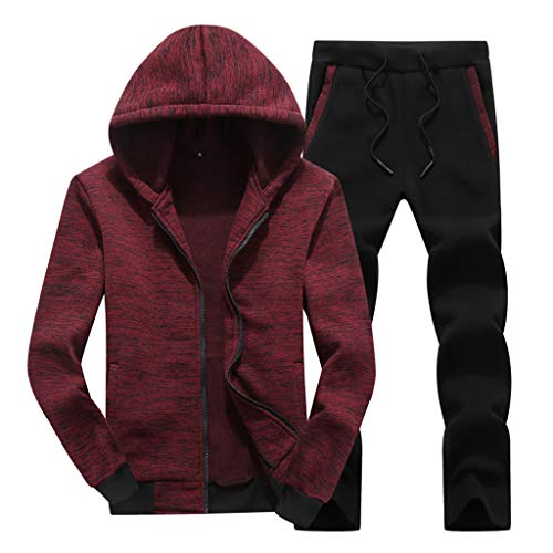 Bitriddis Winter Warm Hoodies Sweatsuit Tracksuit Herren Causal Tracksuit Set Stand Collar Sportwear Tracksuits Full Zip Sports Jogging 2 Pieces Suits Full Zip Stand