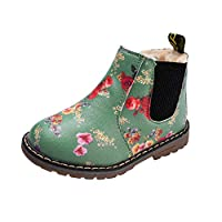 Anglewolf Children Fashion Boys Girls Sneaker Boots Autumn Winter Warm Thick Baby Kids Unisex Casual Floral Printing Zipper Up Shoes Leather Snow Shoes(Green-Cotton,UK:4.5)