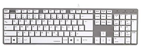 Hama PC Tastatur (Rossano im Slim-Design, USB, QWERTZ-Layout, kabelgebunden) weiß/silber