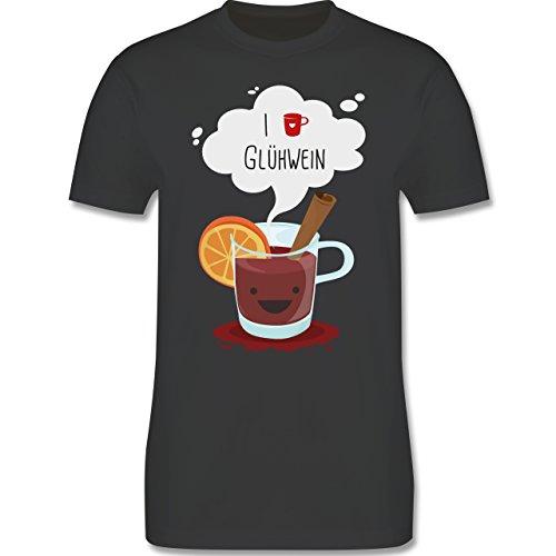 Weihnachten & Silvester - I love Glühwein glückliche Tasse - Herren Premium T-Shirt Dunkelgrau