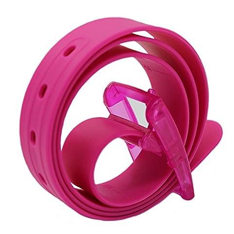 MESHIKAIER Bonbon Couleur Fashion Ceinture Unisexe en Silicone avec Boucle Plastique (Rose)