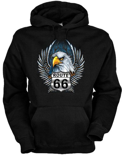 Kult Biker Kapuzenpulli, Hoody Route 66 mit Adler! RT66 eagle head wings Tolle Geschenkidee! Größe XL Farbe schwarz