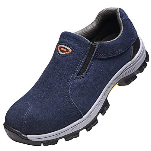 YiLianDaD Scarpe Sportive di Sicurezza in Pelle PU Uomo Ultraleggere Scarpe da Lavoro con Punta in Acciaio Blu