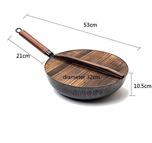 HU Bratpfanne Woks Reiner Schmied handgefertigt Mehrzweck-Non-Coated-Stick-Topf (Non-stick-grill-wok)