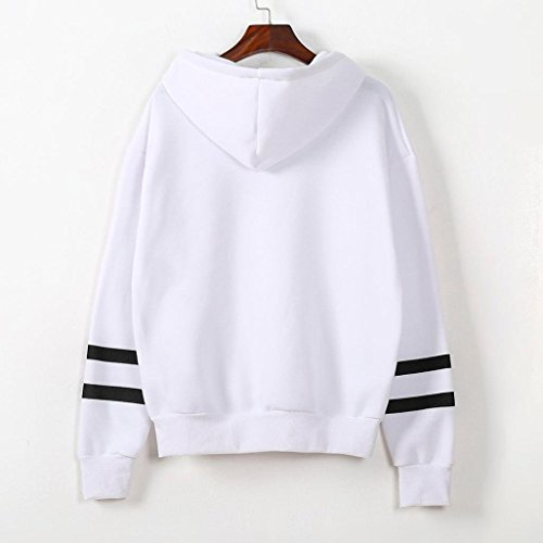 Minetom Donna Autunno Inverno Casuale Manica Lunga Felpe Con Cappuccio Strisce Hoodies Pullover Sportivo Tops Cappotto Bianco