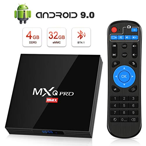 TV Box Android 9.0 Smart TV 4GB ROM+32GB RAM superpow MXQ PRO MAX S Quad-Core mit BT4.1/ 2.4Ghz WiFi / 100 LAN / H.265, 3D/ 4k Smart TV Box (4k Smart Tv 3d)