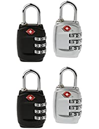 DOCOSS-PACK OF 4--331-TSA Approved Lock 3 Digit For USA International Number Locks For Luggage Bag Travelling...