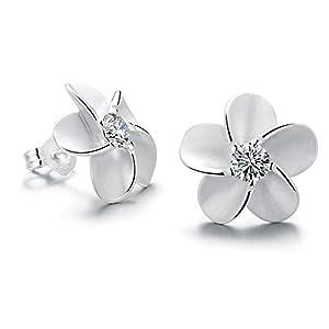 SILVERAGE 925 Silber Blumen Ohrringe Geschenk für Frauen