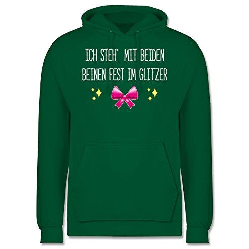 Statement Shirts - Ich steh' mit beiden Beinen fest im Glitzer - Männer Premium Kapuzenpullover / Hoodie Grün