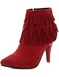 d801b502fc Smilice Women Tassle Boots With Pointed Toe and Kitten Heel Nubuck Materail Ankle  Boots With Plus