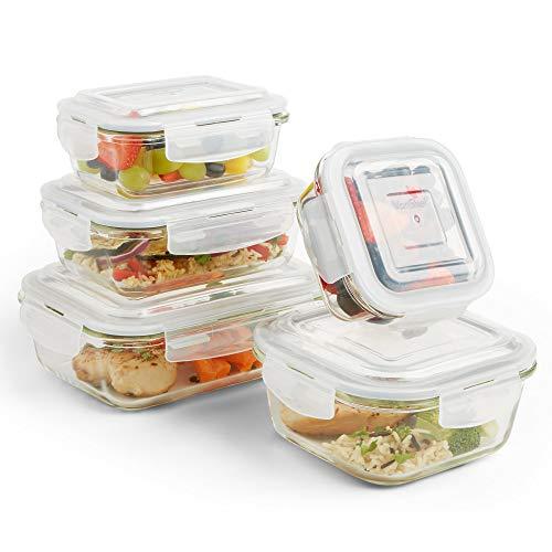 VonShef Set de 5 Récipient En Verre boîtes alimentaires en Verre avec couvercles hermétiques