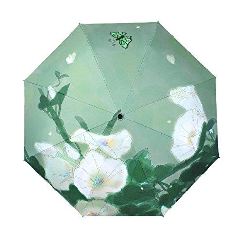 Kreativ Schmetterling Anti-UV Compact Falten Prämie Aluminium Legierung 8 Rippen Verstärkt Windundurchlässig Rahmen Wasserdicht Reise Golf Regenschirm Echtholz Griff