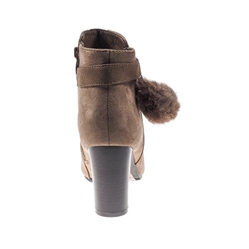 ... 5186 Fashion4Young Elegante Damen Stiefel Stiefelette Ankle Boots  Lederimitat Reissverschluss Braun.