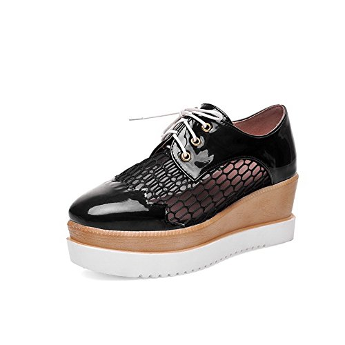 Senhoras Sapatos Quadrado Pu Allhqfashion Bombas Calcanhar Do Rendas Pé Dedo Meados Pretos U0dw1x