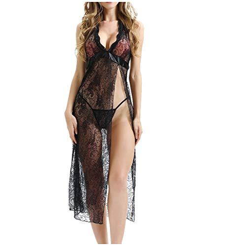 LILIHOT Frauen Nachtwäsche Nachthemd Lace Pyjamas Dessous Lace Longuette Unterwäsche Damen Dessous Spitze Negligee Kurz Kimono Robe Nachtwäsche Bikini Cover up -